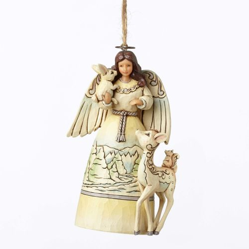 Jim Shore White Woodland Angel Hanging Ornament